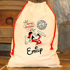 Personalised Mickey Mouse Santa Sack Merry Father Christmas Happy Disney Bag