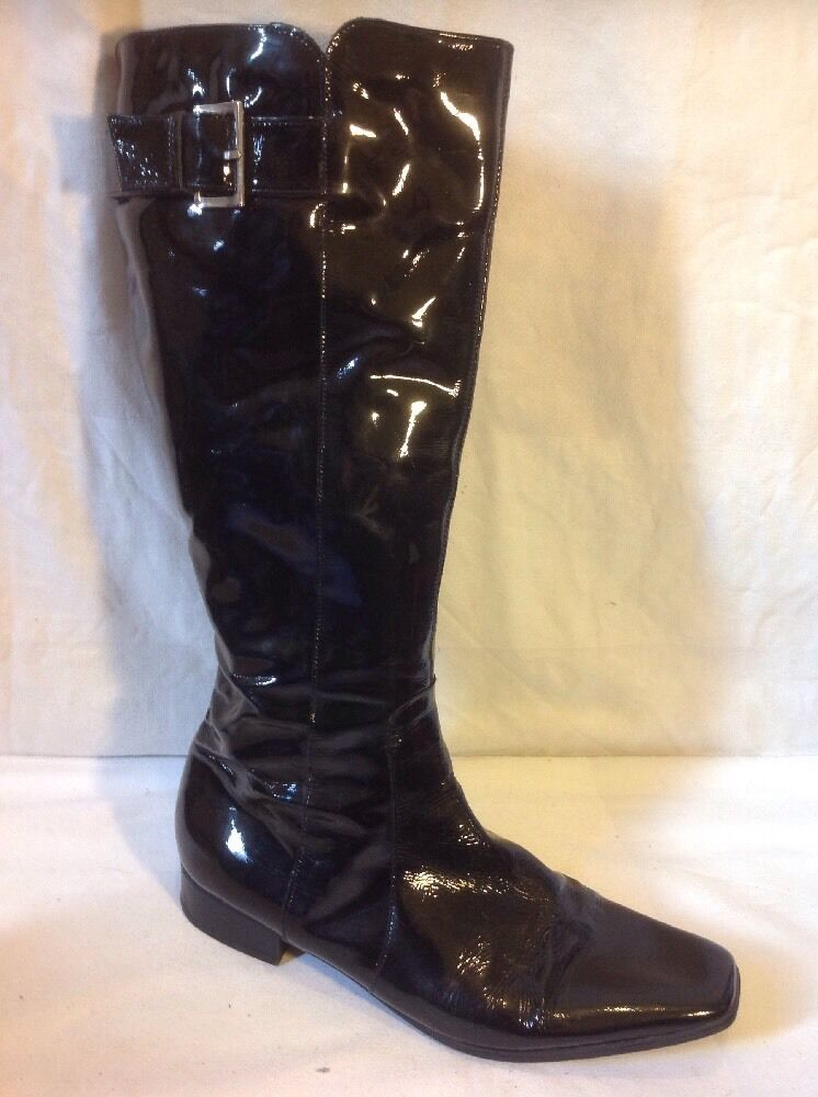 Cara Black Knee High Leather Boots Size 41