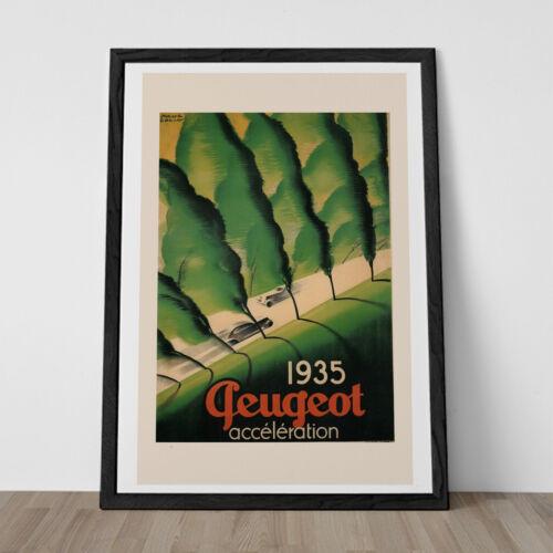 Automobile Poster Art Classic Art Deco Poster VINTAGE Art Deco PEUGOT POSTER