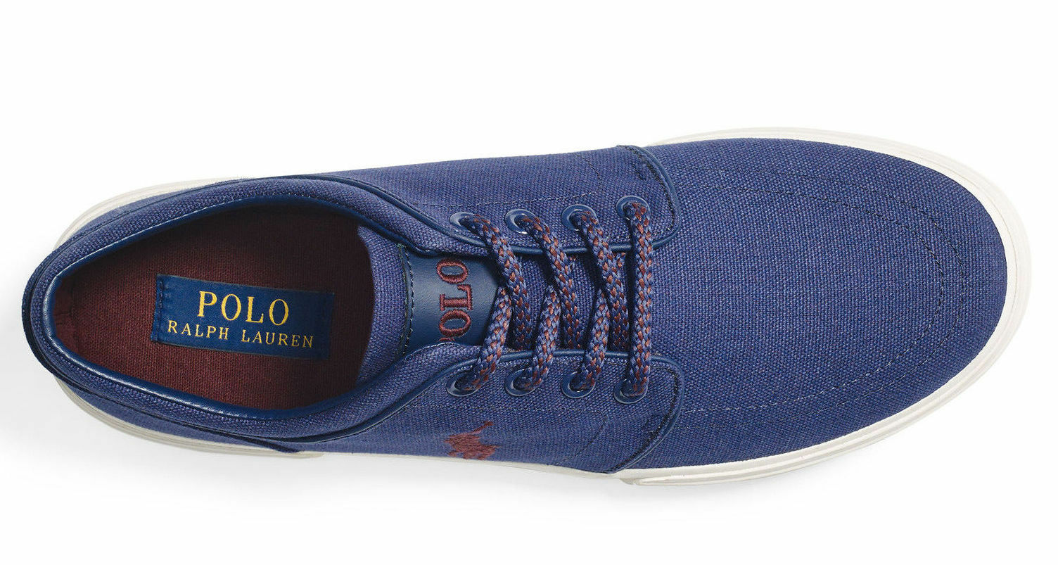 best service f030b f439e ... Polo Ralph Lauren Men s FAXON CANVAS CANVAS CANVAS LOW SNEAKER New 100%  AUTHENTIC MSRP  59.99 ...