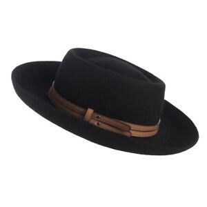 Men-Women-Vintage-Black-Wool-Panama-Hat-Gentleman-Fedora-Derby-Cap-Leather-Band