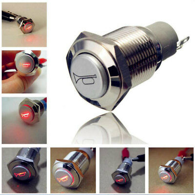 New 16mm 12V LED Momentary Push Button Metal Switch Car Boat Speakers Bell Horn√