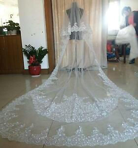 2T-White-Ivory-Lace-edge-Wedding-Veil-Bridal-Veils-Applique-Cathedral-with-comb