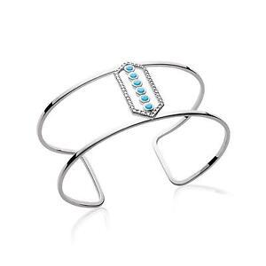 Bracelet Jonc Manchette Hexagone 6 Cristaux Argent Massif 925 Rhodié