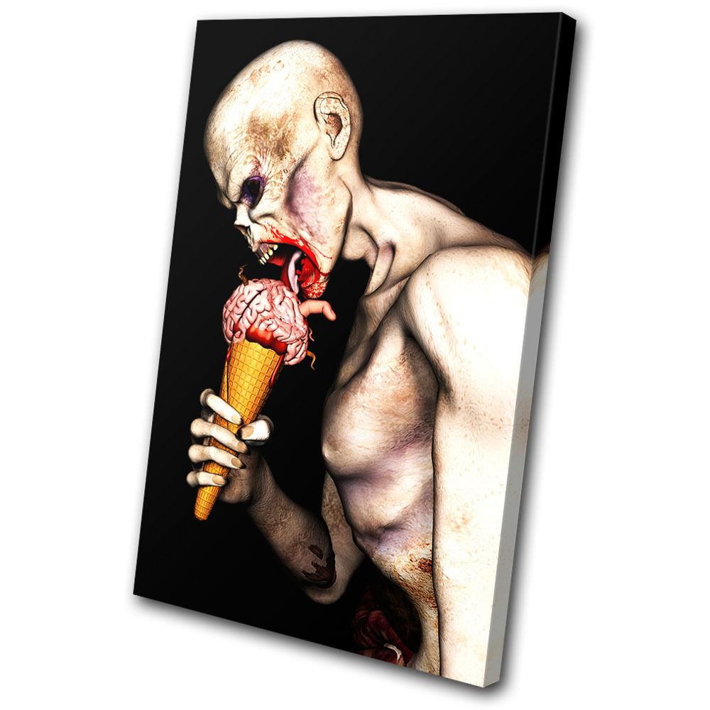 Illustration Zombie Brain Cone    SINGLE TELA parete arte foto stampa 17ed0c