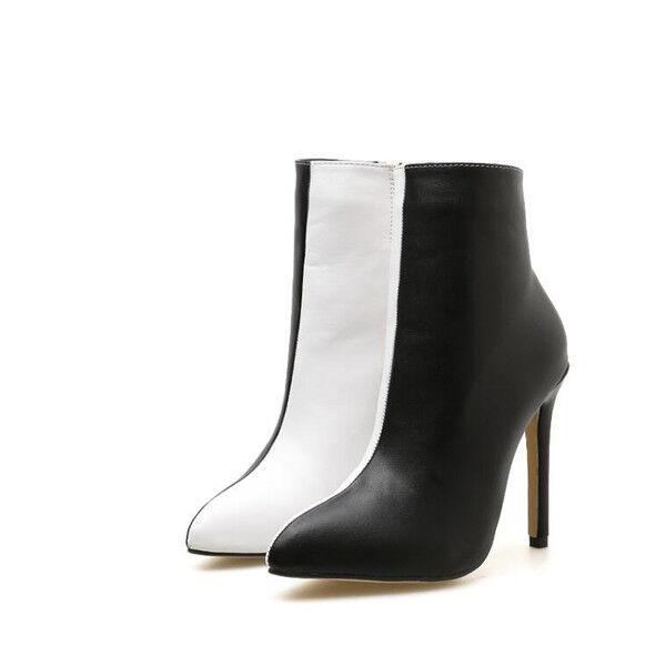 Stivali stivaletti stiletto 10 bianco nero tronchetto eleganti simil pelle 1524 1524 pelle 92071f