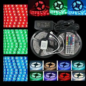 Waterproof-5050-RGB-LED-Strip-Lights-Flexible-1m-30m-IR-Controller-Adapter-12V