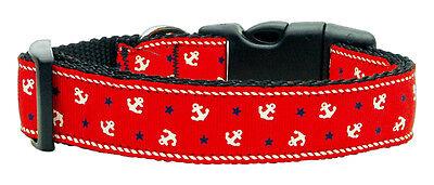 Red Anchors Designer Dog Collar - Medium & Large