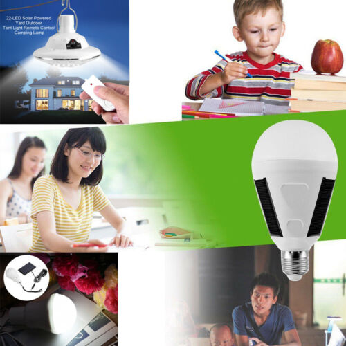 LED Solar Powered Light Bulb Outdoor Camping Fishing Solar Lamp Rechargeable New