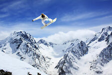 STUNNING SNOWBOARDING SKI JUMP CANVAS #347 QUALITY CANVAS PICTURE A1 WALL ART