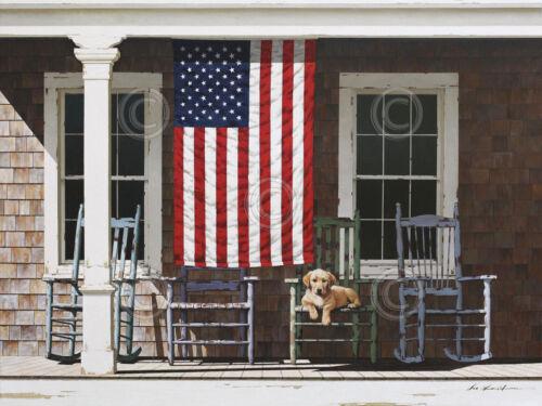 American Flag by Zhen-Huan Lu Art Print Poster Patriotic Country Porch Dog 13x19