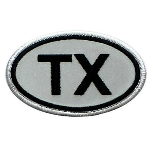 "VEGASBEE® TX TEXAS USA REFLECTIVE EMBROIDERED PATCH GRAY-BLACK IRON-ON EMBLEM 4"""