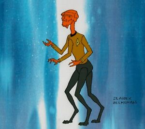 Star-Trek-Prod-Model-Cel-1973-Filmation-animated-Rare-Lt-Arex-Helmsman-alien