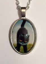 CATENA gatto nero foto sotto vetro nel quadro di metallo ovale cabochon BLACK CAT