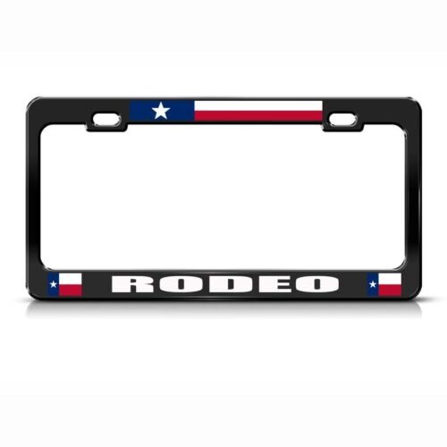 Rodeo Black Metal License Plate Frame Tag Holder