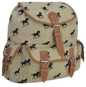 Womens Canvas Horse Print Pattern Backpack Rucksack Daysack Sports Workout  Bag   eBay