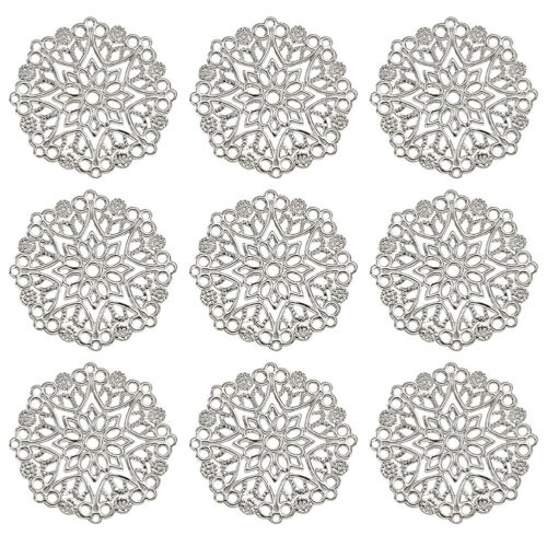 100 Iron Filigree Flower Pendants Hollow Big Charm Connector Joiner Links 35.5mm