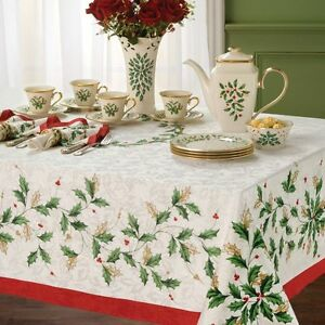 image is loading lenox holiday holly christmas tablecloth various sizes