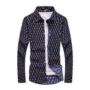 Autumn-New-Brand-Stylish-Men-039-s-Floral-Printed-Casual-Slim-Fit-Long-Sleeve-Shirts