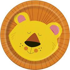 ANIMAL JUNGLE SMALL PAPER PLATES (8) ~ Birthday Party Supplies Cake Dessert Lion