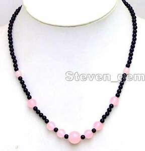 SALE-Beautiful-4mm-black-round-agate-and-6-12mm-Pink-jade-18-Necklace-nec5872