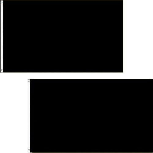 2 PACK 3x5 Ft SOLID Plain Black Printed Polyester Flag Flags