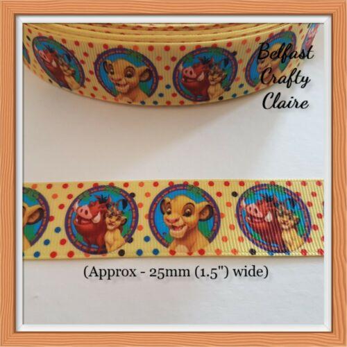 Carácter Rey León Amarillo de Cinta de Grogrén 25 mm de ancho-maniquí de pelo Arcos de costura