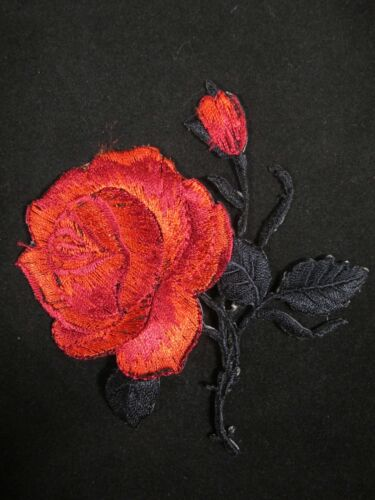 "#5088R 3 1//4/"" Red Rose Flower Embroidery Iron On Applique Patch"