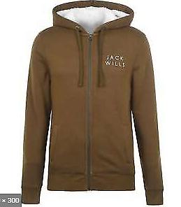 Jack Wills Pinebrook Sherpa Zip Up Jacket Mens Size UK Medium Olive *REF2
