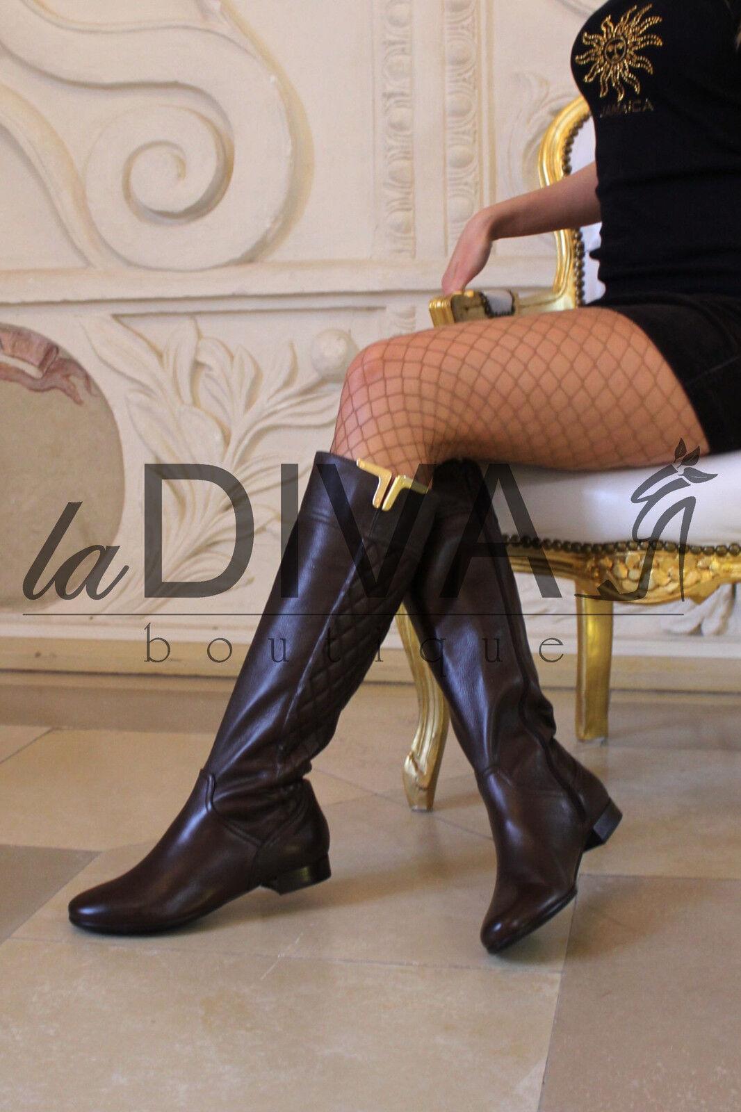 NAPOLEONI   Designer Leder Stiefel 40 braun gesteppt Reiterstiefel Stiefel