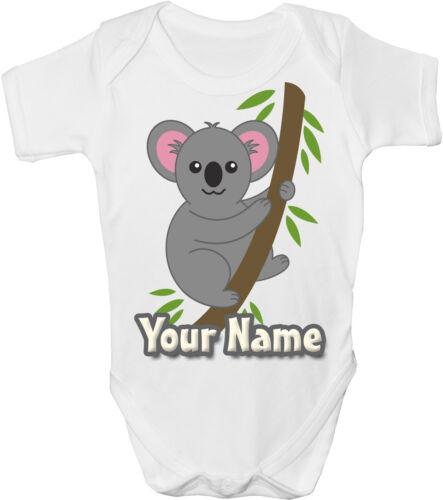 GRO //BODYSUIT KOALA PERSONALISED SUBLIMATION BABY VEST *GREAT GIFT /& NAMED*