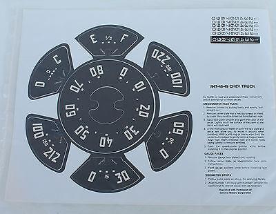 1947 1948 1949 Chevrolet Truck Speedometer /& Gauge Vinyl Decals