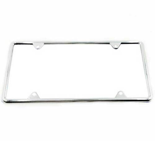 2pcs Silver Stainless Steel Metal License Plate Frames Tag w// Screw Caps