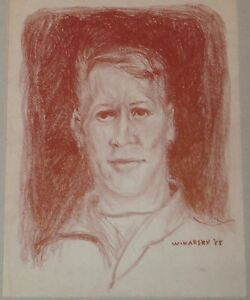 Portrait-of-Young-Man-in-Red-Crayon-Drawing-1955-Israel-Louis-Winarsky