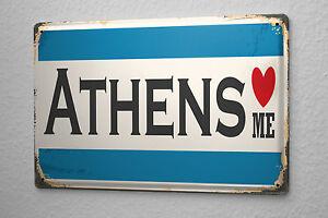 Cartelli Bagno Da Stampare : Cartello targa in metallo voglia di viaggiare città atene grecia ebay