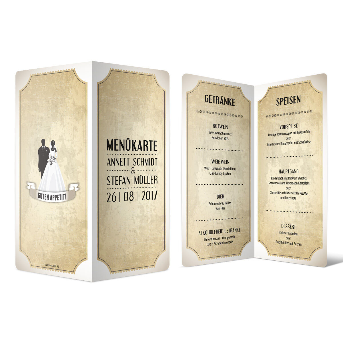Menükarten Hochzeit - Vintage Brautpaar in Weiß - Speisekarte Getränkekarte