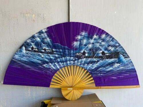 XL Fächer Wandfächer Deko Handgemalt Handarbeit Hansen lila 90 cm