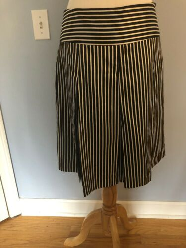 J CREW Collection Black White Striped Silk Skirt S