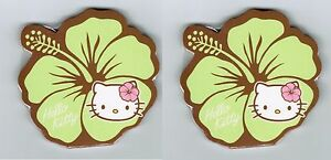 Sanrio-HELLO-KITTY-Green-Hibiscus-FLOWER-Set-of-2-Sticky-Notes-pads-NEW-2011