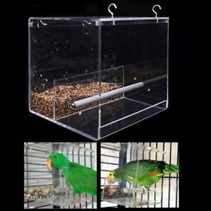 Acrylic-Automatic-Parrot-Feeder-No-Mess-Bird-Cage-Seed-Feeding-Container-Box-AU