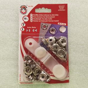 Druckknöpfe 10 x 15mmØ + Werkzeug Nickel Stahl- Ringfeder Stoffe Kleidung Textil