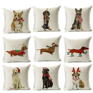 Christmas-Dog-Linen-Cushion-Cover-Throw-Pillow-Case-Sofa-Bed-Home-Decor-Healthy