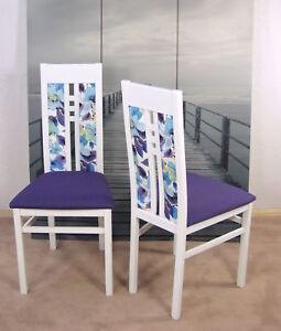 2er Set Moderne Esszimmerstühle Massivholz Weiß Pflaume Polsterstuhl