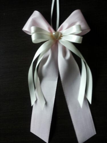 Deko Hochzeit,Autoschmuck Hochzeit 5 Antennenschleifen rosa//creme,Autoschleifen