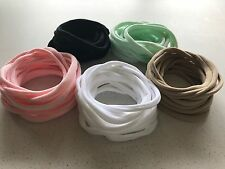 50 Thin Super Soft Stretchy Nylon Elastic Baby Headbands One Size 5 Colour Mix