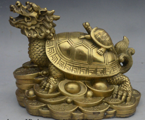 "7/"" China fengshui Brass Longevity Wealth Dragon Turtle Tortoise On Coin Statue"