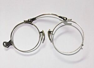 All Original Antique Victorian 12k White GF Hand Etched Folding Eye Glasses