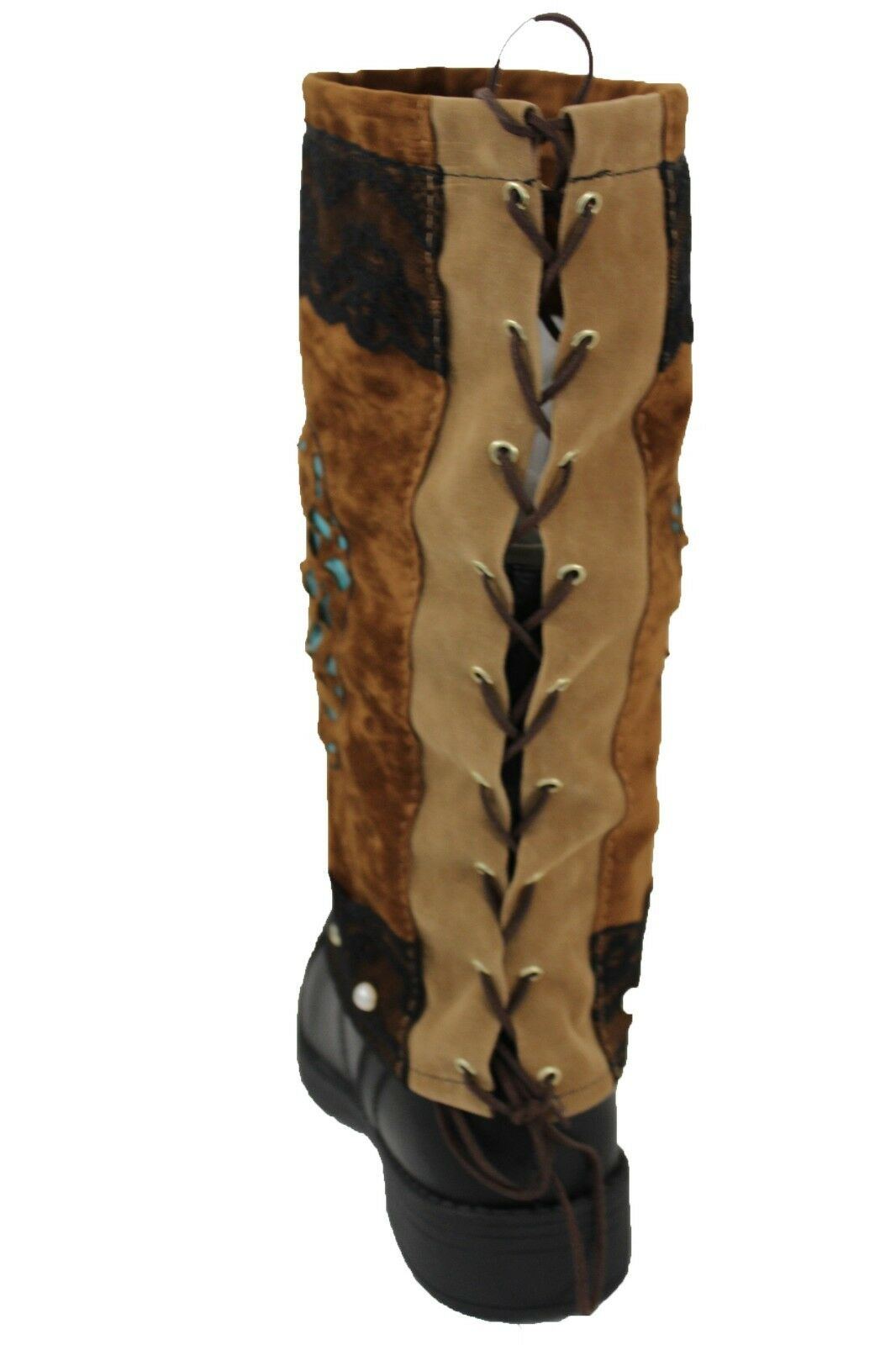 Women Western Boot Cover Topper Pair Long Brown Faux Leather Slip On Sugar Skull
