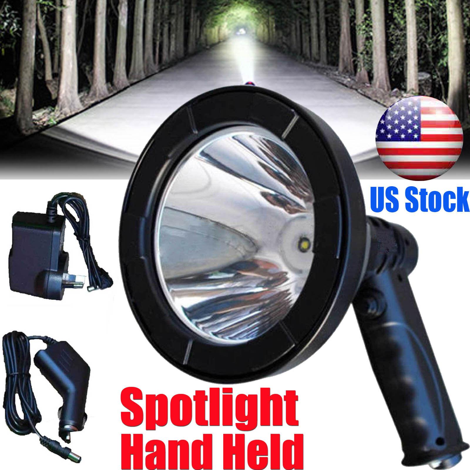 980W LED Handheld Spot light Lamp Camping Hunting Fishing Hiking Rechargable 12V