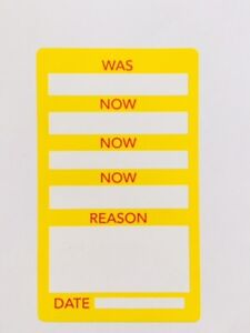 QUALITY YELLOW WAS NOW SHOP CLEARANCE LABELS//STICKERS 1K PER ROLL 44x74 mm